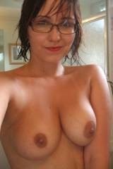 Topless in glasses