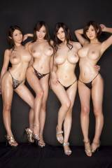 After busty asian trio... Busty asian quad !