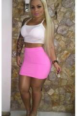 Fake blonde no silicone in pink skirt