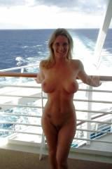 On the cruise ship balcony in all her glory.
