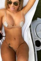 Bikini from above, her hips swallow up those botto...
