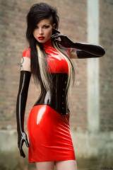 Alerah Von Snatch, red dress and perfect rubber gl...