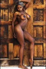 Stacked ebony model posing