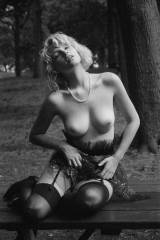 Britany Noly in the woods with a pearl necklace (X...