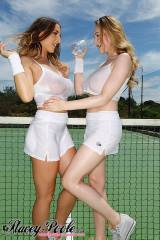 Beth Lily and Stacey Poole playing on the tennis c...