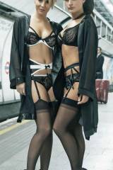 Two lovely ladies posing in the Underground