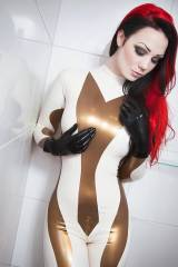 Starfucked white and gold catsuit