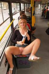 Girl shows her pussy on the bus [IMG]