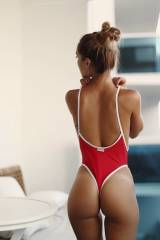 Red and white one piece