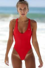 Brit Manuela in a red swimsuit