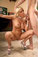Stuffing squat bimbo mouth