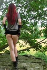 Skirt up in the woods