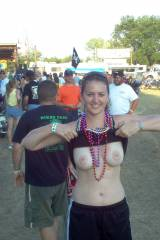Beads for boobs at bike show