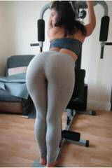 Hot Girl Doing Stretch in Tight Grey Yoga Pant.......