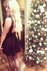 Hot blonde by the tree