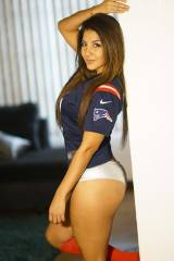 Mimy Regia wearing Pats Jersey