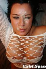 Nice big facial for big boobed girl