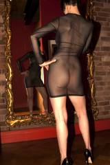 Just me - in my sheer minidress and high heels.