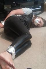 Duct taped amateur in leather tights