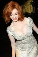 Christina Hendricks leaning over because one boob ...