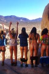 Five girls mooning in the great outdoors