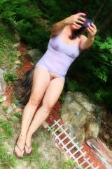 Wife [46] Outside Taking a Selfie - Wet T-Shirt an...
