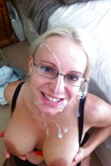 Cum on Milf wearing glasses