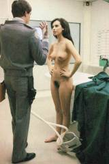Mathilda May in a behind the scenes picture of