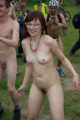 Fully naked girl dancing outdoors