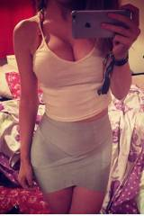Tank top and grey skirt