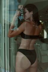 Kendall Jenners butt pressed against glass