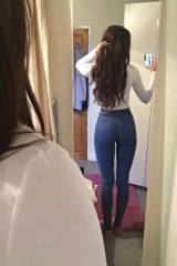 Jeans and a long sleeve white shirt
