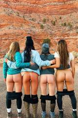 Four girls mooning in the great outdoors