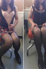 [F] Finally alone in office and couldnt resist ta...
